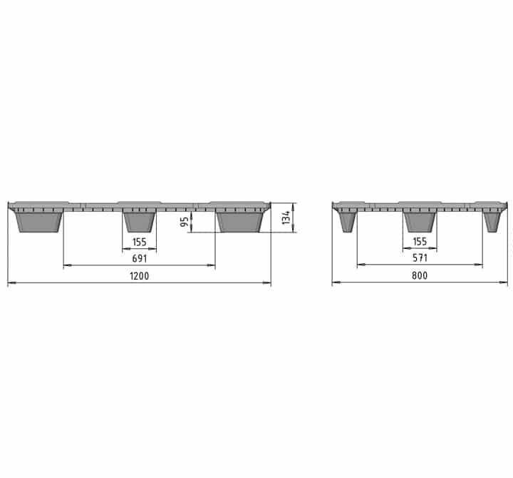 Pallet encajable REP 1200x800 liso 9 pies - Esquema medidas | Ribawood