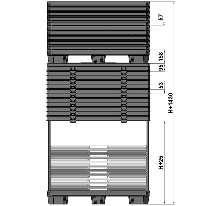 BOX TP CONTENEDOR 1200x800 o 1200x1000 9 pies o 3 patines sistema retorno estándar
