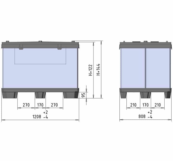 BOX TP CONTENEDOR 1200x800 9 pies o 3 patines esquema