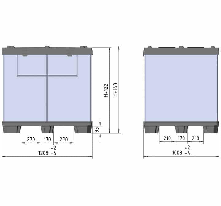 BOX TP CONTENEDOR 1200x1000 9 pies o 3 patines esquema