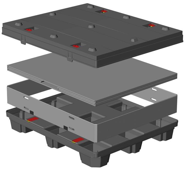 Box TP Contenedor plástico 1200x1000 mm sistema de plegado Sandwich | Ribawood