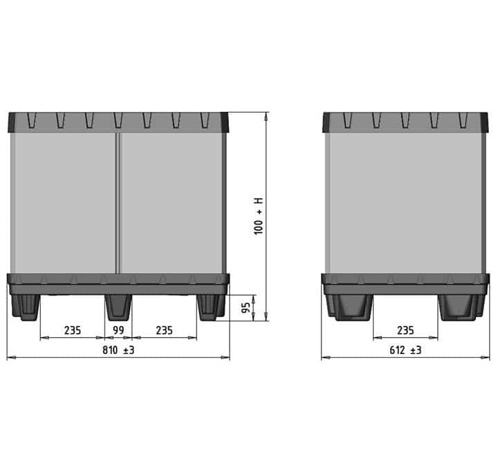 Box TP Contenedor plástico 800x600 mm medidas | Ribawood