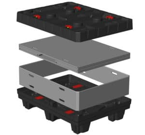 Box TP Contenedor plegable 800x600 mm sistema de plegado Sandwich | Ribawood