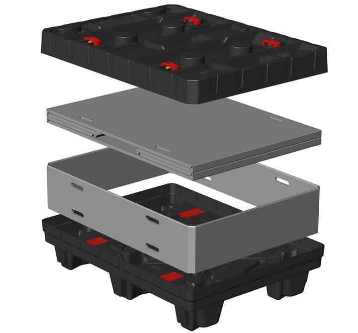 Box TP Contenedor plástico 800x600 mm sistema de plegado Sandwich | Ribawood