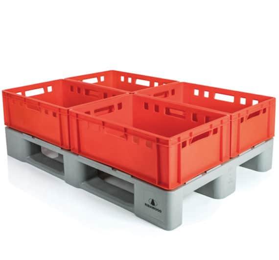 Pallet tipo H1 con cajas E2 l sector cárnico