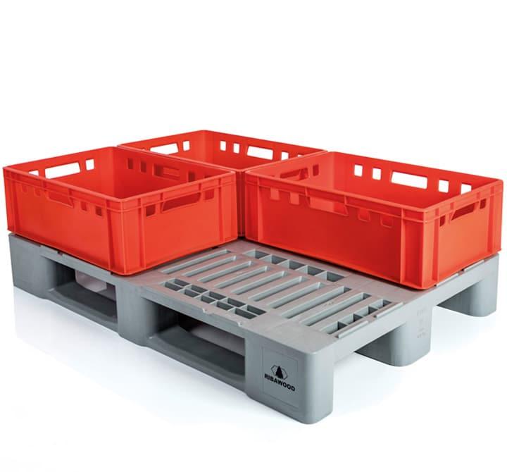 Pallet tipo H1 con cajas E2 l sector cárnico detalle palé